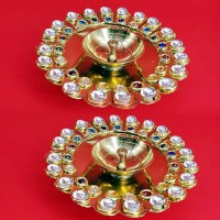 Decorative Brass Diyas with Kundans