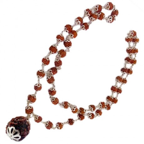 Rudraksha Mala with 53 Beeds and 4 Face Rudraksha Beed