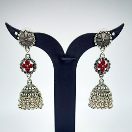 Antique Oxidized German Silver Long Earnings /  Jhumkis with Red Color Stones