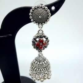 Oxidized Silver Earnings  with Red Colour Stones