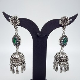 Oxidized Silver Earnings with Green Colour Stones