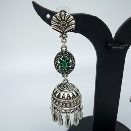 Antique Oxidized German Silver Earnings with Green Colour Stones