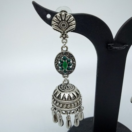 Antique Oxidized German Silver Long Earnings/ Jhumkis with Green Color Stones