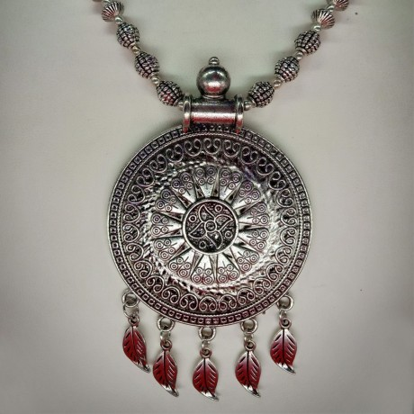 Antique Oxidized Silver Pendant Necklace Round Design For Women And Girls