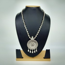 Antique Oxidized Silver Necklace with Round Pendant