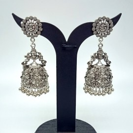 Antique Oxidized German Silver Lakshmi Devi Jhumka Temple Earrings