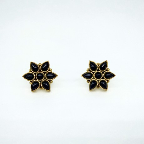 Black Onyx Flower Stud Earrings for Women Girls
