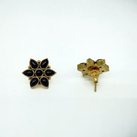 Black Onyx Flower Stud