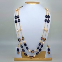 Designer Glass Beads With Pearls Necklace Set With One Pair Of Earrings / Jhumkis For Office Wear