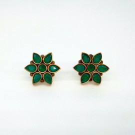 Emerald Flower Stud Earrings for Women Girls