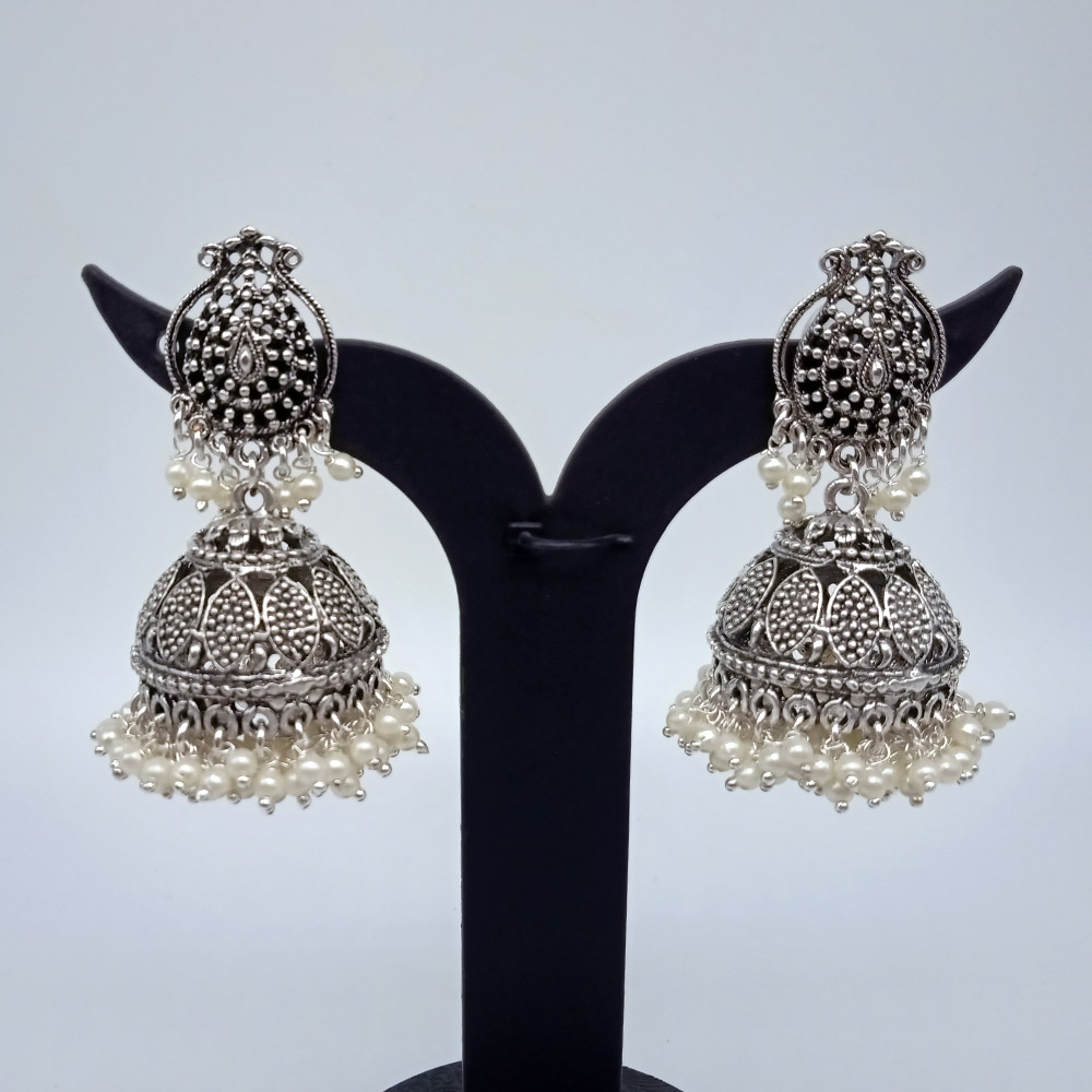 Oxidized German Silver Plated Water Drop Shape With double layered Pearl Beads  Jhumka / Jhumki Girls Earring