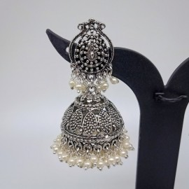 Oxidized Silver Jhumkas with Double Layered Pearl Beads
