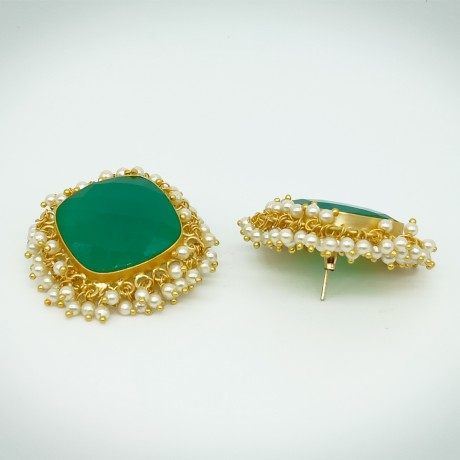 Oxidized Antique Diamond Shape Green Kundan Stone With White Pearl Designer Traditional Fusion Stud Earrings for Women