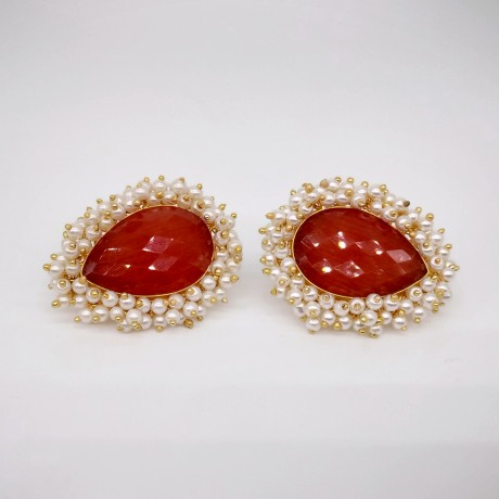 Oxidized Antique Orange Kundan with White Pearl Designer Traditional Fusion Stud
