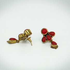 Precious Ruby Stone Brass Earrings / Jhumkis for Women and Girls