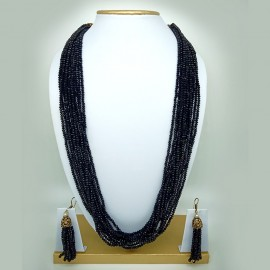 Rajasthani Classic 10 Layer  Black Semi Precious Gemstone Necklace Set with Earrings for Women and Girls