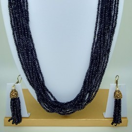 Semi Precious  Black Spinel Necklace Set  (10 Layers)