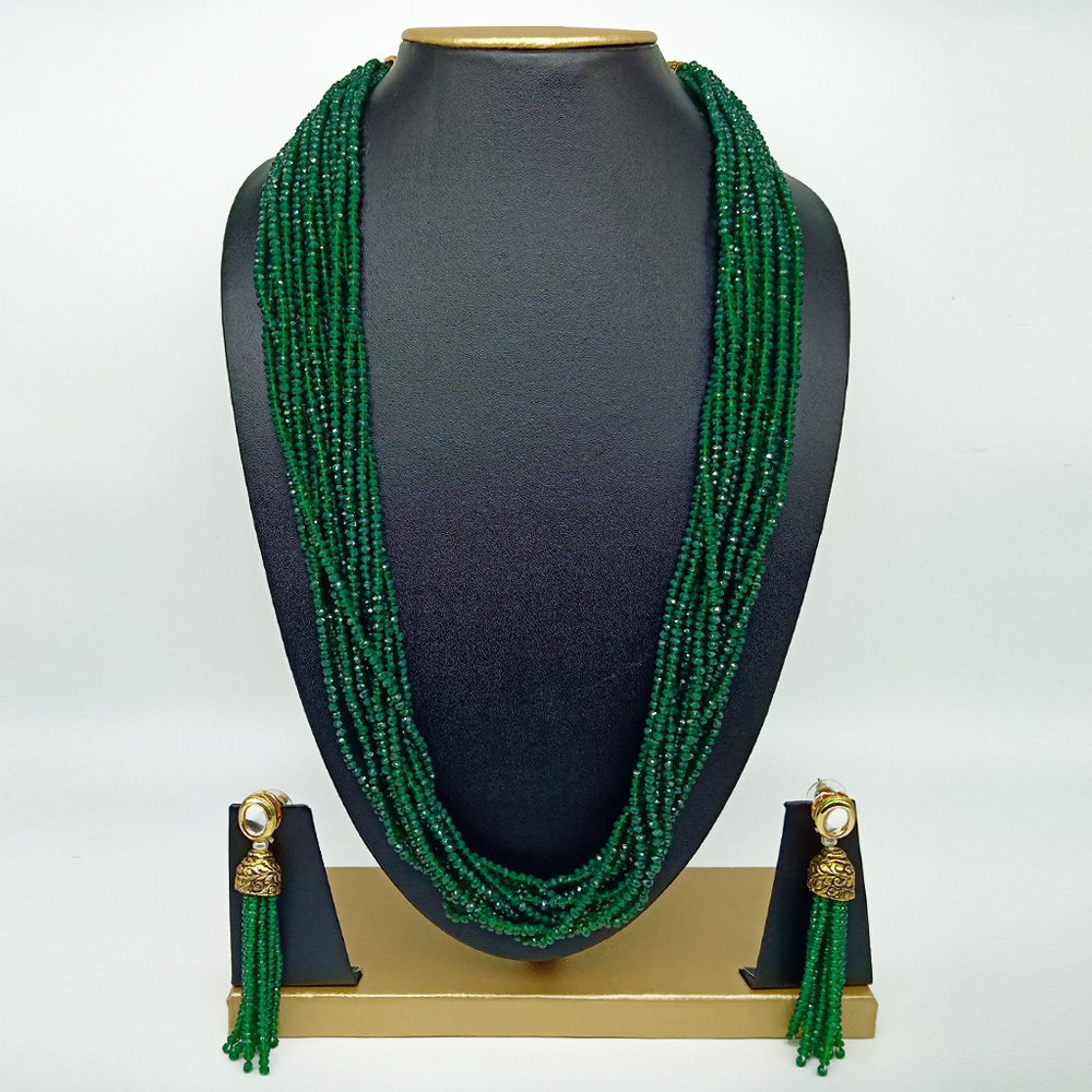 Rajasthani Classic 10 Layer Dark Green Semi Precious Gemstone Necklace Set with Earrings for Women and Girls