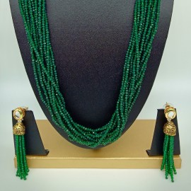 Semi Precious Emerald Necklace Set  (10 Layers)