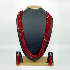 Semi Precious Ruby Necklace Set (10 Layers)