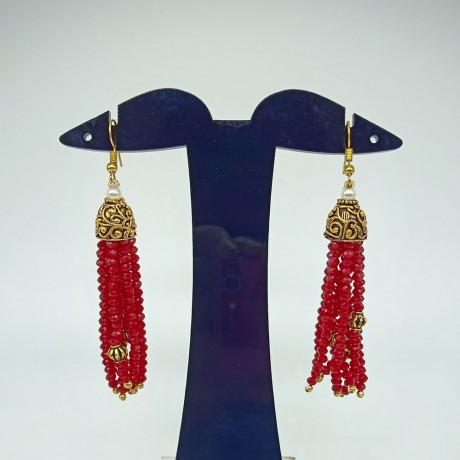 Rajasthani Classic 10 Layer Red Semi Precious Gemstone Necklace Set With Earrings For Women And Girls