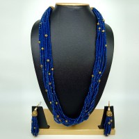 Rajasthani Classic 10 Layer Royal Blue Semi Precious Gemstone Necklace Set With Earrings for Women and Girls