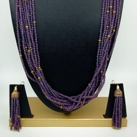 Semi Precious Amethyst Necklace Set (10 Layers)