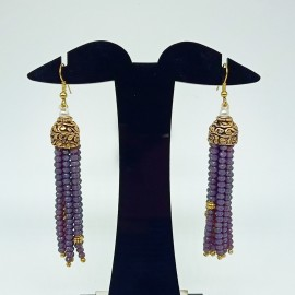 Rajasthani classic 10 layer Violet Semi Precious Gemstone Necklace Set with Earrings for Women and Girls