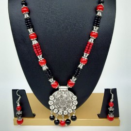 Oxidized Red and Black Beads Necklace Set