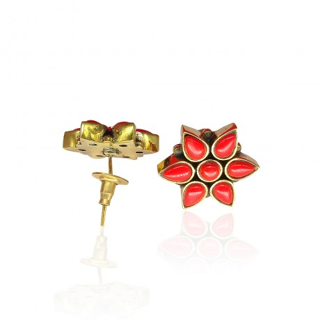 Ruby Flower Stud Earrings for Women Girls