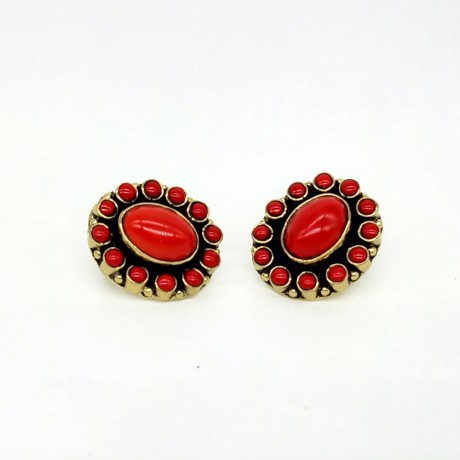 Semi Precious Stone Red Color Kundan Design Stud Earrings / Jhumkis