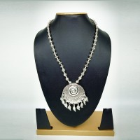 Antique Oxidized Silver Pendant Necklace Shank Design For Women And Girls