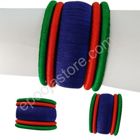 Silk Thread Bangles  in Blue and Orange Colours