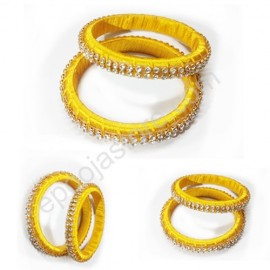 Silk Thread Bangles ( Yellow Colour)