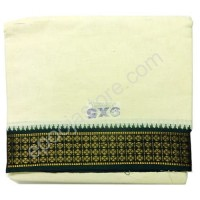 Cotton Dhoti With Green Boarder ( Cream Colour)