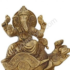Lord Ganesha With Musika  Vahanam Brass Idol