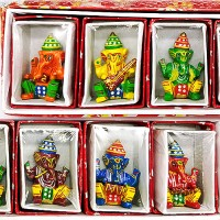 Handcrafted Lacquered ecorative Showpiece of Ganesh Idol With Musical Instruments (Small Size)