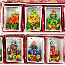 Handcrafted Lacquered Decorative Showpiece of Ganesh Idol With Musical Instruments (Small Size)
