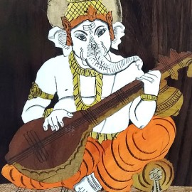 Ganesha with Veena (Rosewood Curved Painting)