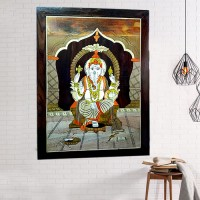 Lord Ganesha (Rosewood Curved Painting)