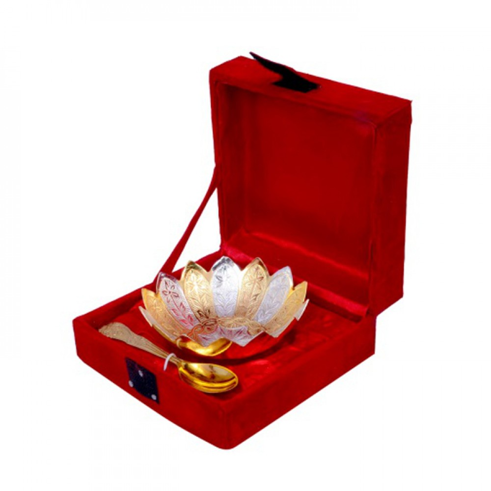 "Gold & Silver Plated Brass Lotus Flower Shaped Bowl 4"" Diameter with Spoon"