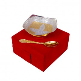 "Gold & Silver Plated Brass  Square Shaped Bowl 4"" Diameter with Spoon"