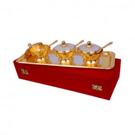 "Silver & Gold Plated Brass Mouthfreshner Set 7 Pcs. (Bowl 3"" Diameter & Tray 13"" x 5.5"")"