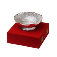 "Silver Plated Brass Bowl 6"" Diameter"