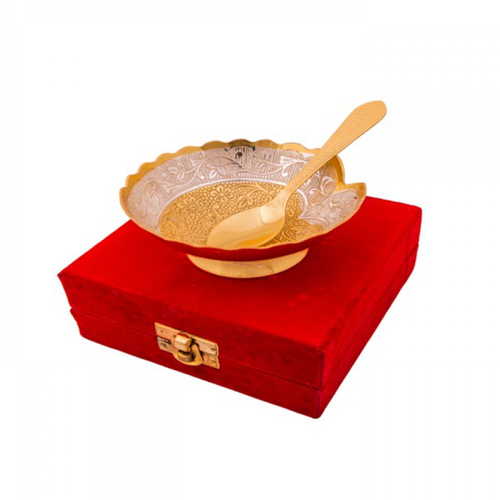 "Silver & Gold Plated Brass Bowl 4"" Diameter with Spoon"