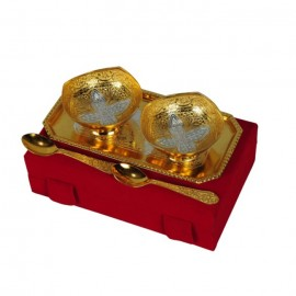 "Silver Gold Plated Brass Bowl Set 5 Pcs. (Bowls 3.5"" Diameter & Tray 9.5"" x 5.5"")"