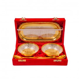 "Silver & Gold Plated Brass Bowl Set 5 Pcs. (Bowl 4"" Diameter & Tray 8""x 4.5"")"