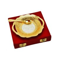 "Silver & Gold Plated Traditional Brass Platter ( 5.25"" x 5.75"" )"