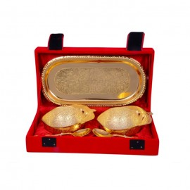 "Gold Plated Apple Shaped Brass Bowl Set 5 Pcs. (Bowls 3.5"" & Tray 8""x4"")"