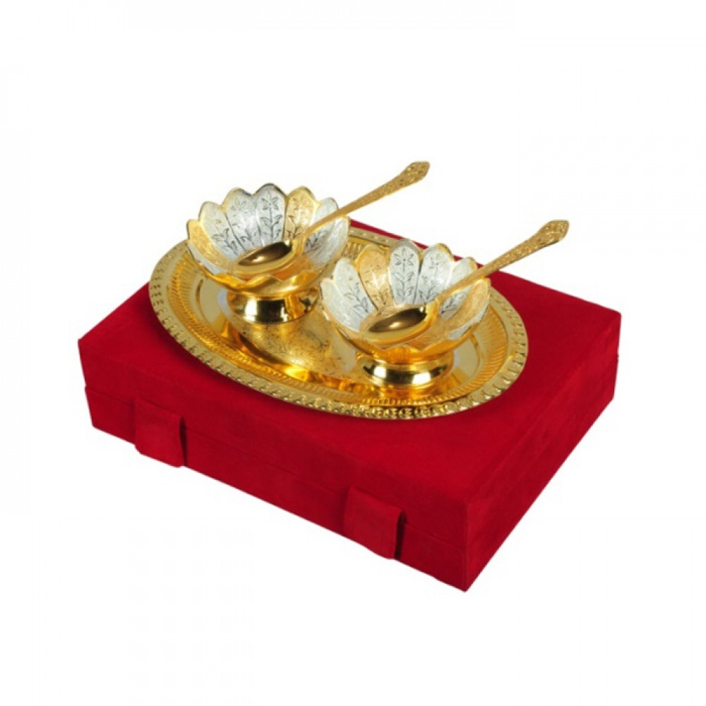 "Gold & Silver Plated Brass Bowl Set 5 Pcs. (Bowls 4"" Diameter & Tray 10"" x 8"")"